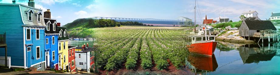 Three images depicting the Maritime provinces of Canada: #1 Maritime village #2 Potato field #3 Seaport